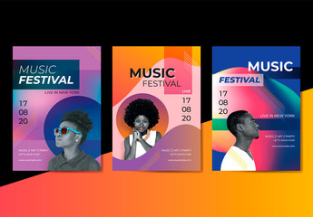 Colorful Music Festival Poster Layouts with Photos and Shapes