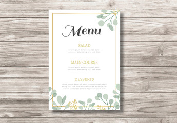 Menu Layout with Leaf Illustration