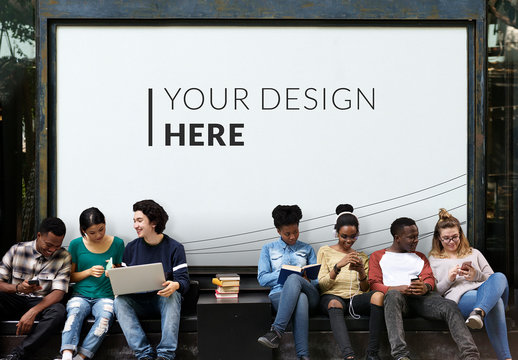 Group of Students in Front of Framed Print Mockup