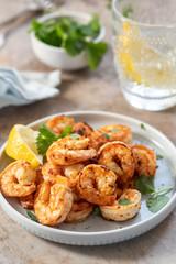 Spicy garlic chilli Prawns Shrimps with lemon and cilantro