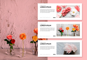 Social Media Banner Layouts with Flower Photos