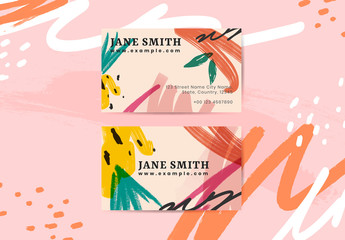 Business Card Layout with Colorful Paint Strokes