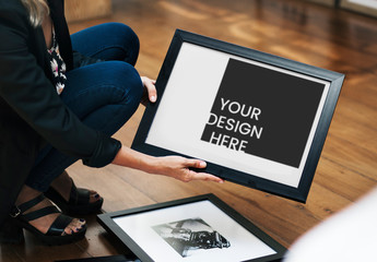 Woman Holding Framed Print Mockup