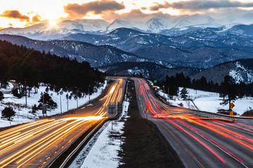 Car trail Sunset