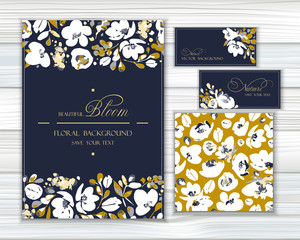Set of vector backgrounds for greetings or invitations with abstract white flowers, shapes and spots in beige, golden colors on navy background. Greeting templates and seamless pattern with blooming.