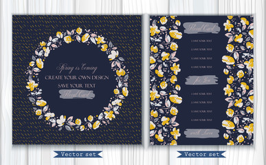 Vector set of two greeting cards or invitations with lovely abstract gray, yellow flowers and leaves on navy background. Round frame. Use in textiles, interior, wrapping paper and other design.