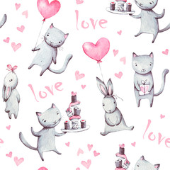 Watercolor illustrations of cats, bunny. Seamless pattern