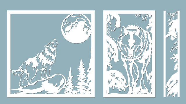 wolf howls at the moon. Vector illustration. Paper wolf sticker. Laser cut. Template for laser cutting and Plotter. Vector illustration. Sticker. Pattern for the laser cut, serigraphy, plotter and scr