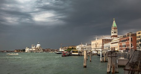 Italy beauty, cathedral Santa Maria della Salute and bell tower of San Marco square, Venice, Venezia
