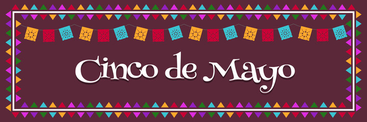 Cinco de Mayo - May 5 Mexico Federal Holiday Poster Banner with Flags Vector Illustration