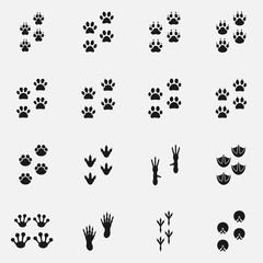 Set of paw print icons. Includes such footprints as dog, cat, bird and other.