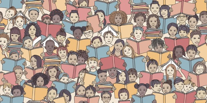 """Seamless banner of children reading colorful books, """"back to school"""" vector background with diverse school kids"""