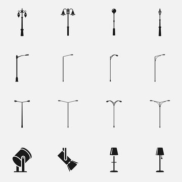 Set of street light lamps and spotlights silhouettes flat vector icon.