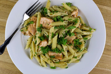 Asparagus & Baked Salmon Penne Pasta Salad