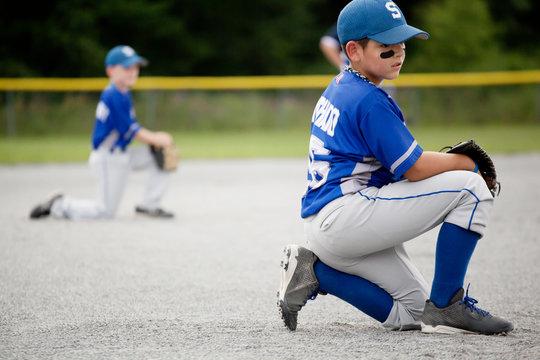 Baseball players playing outdoors