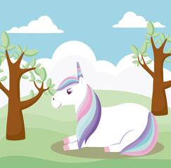 cute unicorn animal with landscape