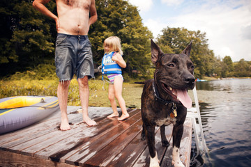Father,  daughter (4-5) and dog on jetty at lake