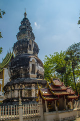 Old distinctive chedi at Wat Ku Tao (Temple of the Gourd Pagoda) in Chiang Mai, Thailand. The temple is called ku tao because of its characteristic water melon shaped chedi and diminishing spheres.