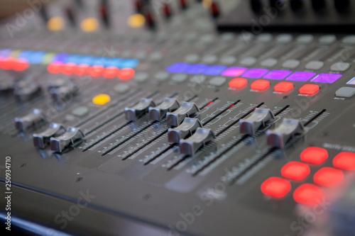 Sound recording studio mixing desk  Music mixer control panel