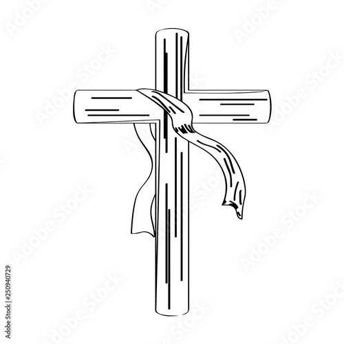 Outline of a cross with a cloth  Holy week  Vector