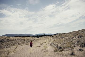 Woman in barren land