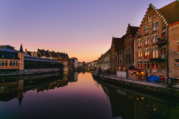 Ghent river at the sunset