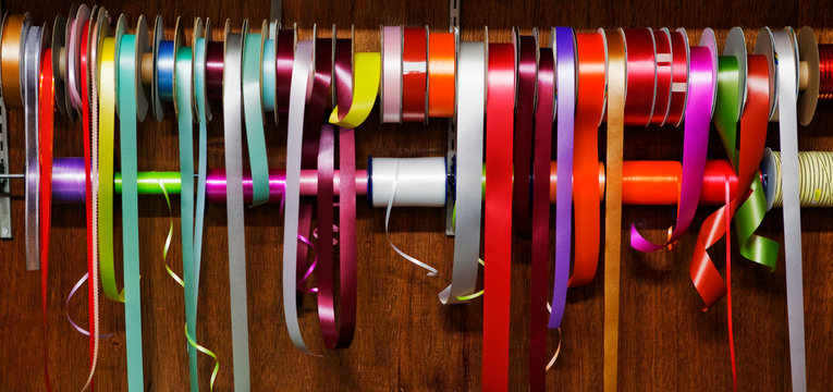 Variety of ribbons for wrapping gifts