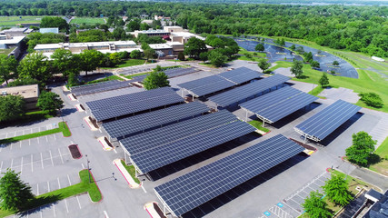 aerial view of solar panels installed in parking