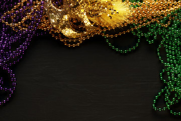 Purple, Gold, and Green Mardi Gras beads and mask background Wall mural