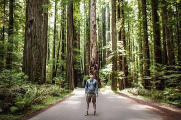 Young man looking at trees