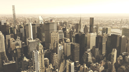 Aerial view of Manhattan skyline, urban skyscrapers, New York City ,black and white