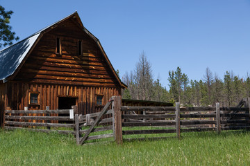 Old Wooden Barn and Fence