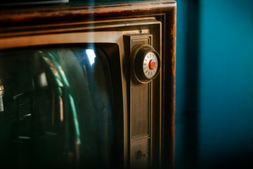 Close-up of old fashioned TV