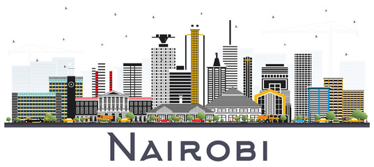 Wall Mural - Nairobi Kenya City Skyline with Color Buildings Isolated on White.