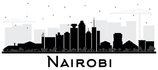 Nairobi Kenya City Skyline Silhouette with Black Buildings Isolated on White.