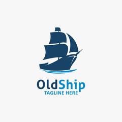 Deurstickers Schip Old ship logo design