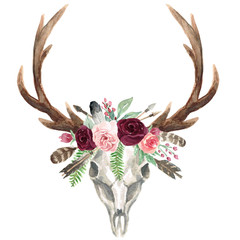 Rustic Watercolor Floral Deer Skull