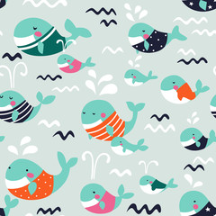 Cute seamless pattern with funny whales in pastel colors