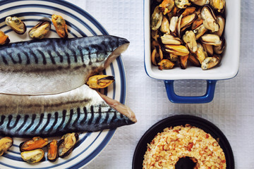Mackerel and mussels on plate, Mackerel preparation
