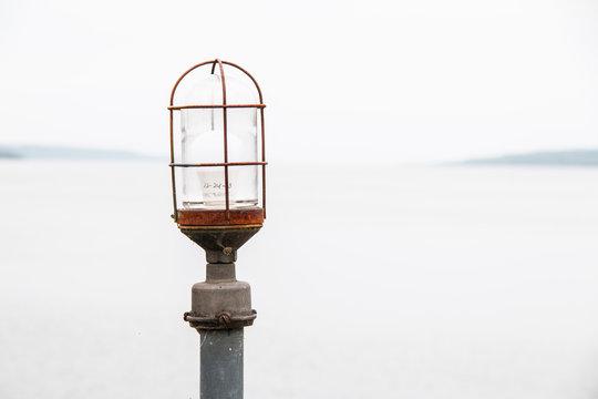 lamppost in front of Seneca Lake in New York