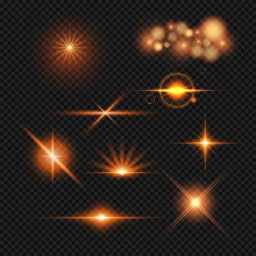 Lighting effect set in different style on transparent background.