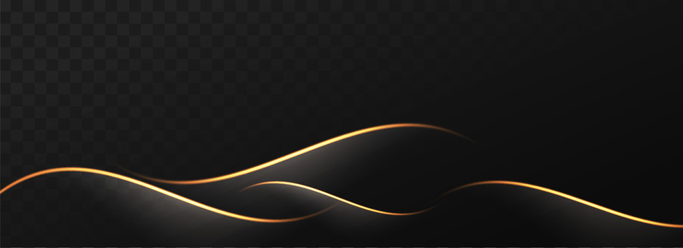 Abstract golden waves on black png background.