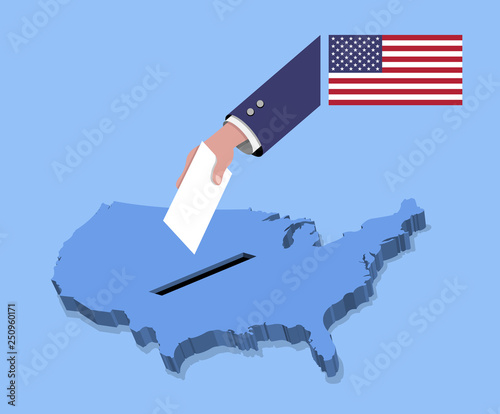 Vote For American Election Over A Usa Map Stock Image And Royalty