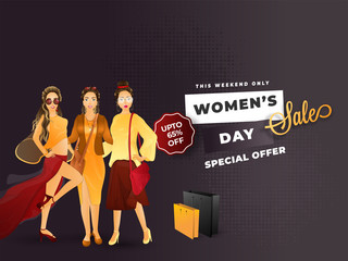 Women's Day sale poster or banner design with beautiful womens character on glossy background.