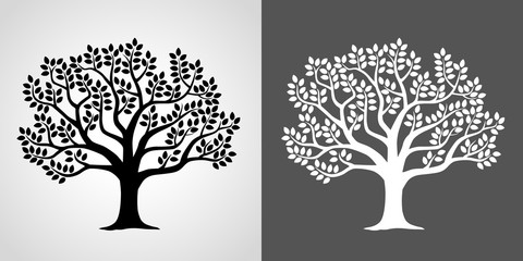 Illustration set of leafy tree- Negative / negative-