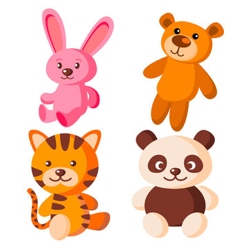Children Soft Toys Vector. Bear, Tiger, Hare, Panda. Isolated Flat Cartoon Illustration