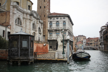 Sightseeing place attractive ancient building, one of wonderful place for day trip boat ticket Ferry terminal at Grand Canal Venice, Italy