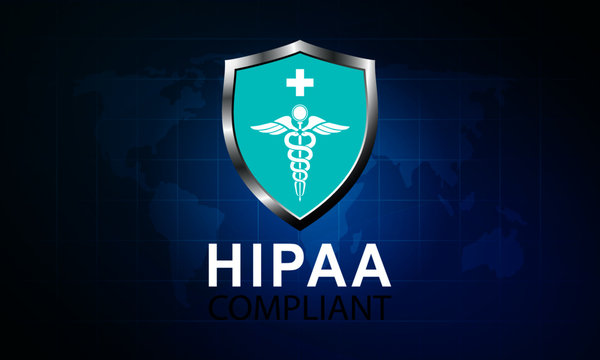 Vector illustration of Healthcare Information Portability and Accountability Act (HIPAA) compliant. Protected Healthcare Information (PHI). World map background