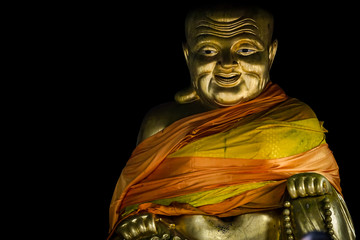 gold fat buddhism statue.