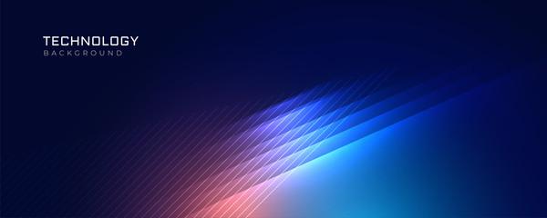 Obraz stylish blue technology lights background - fototapety do salonu